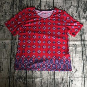 Office Casual Alia Short Sleeve Shirt Red/Blue | S